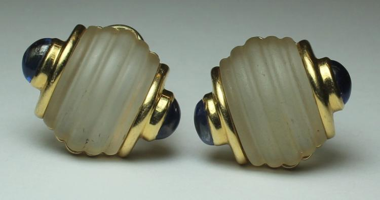 JEWELRY. Trianon 14kt Gold, Crystal and Sapphire