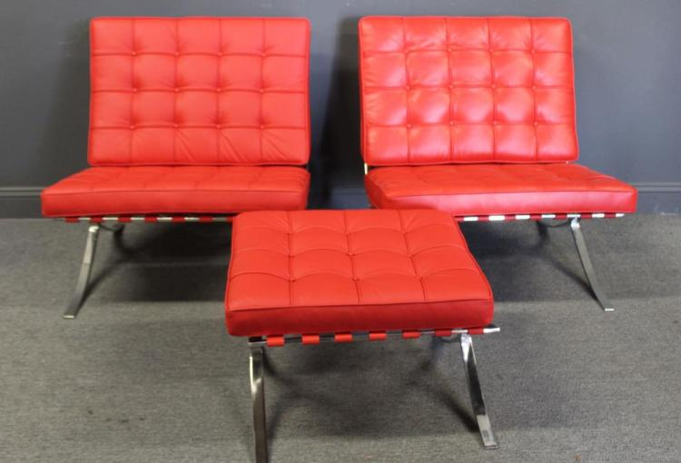 Vintage Pair of Red Leather Barcelona Chairs