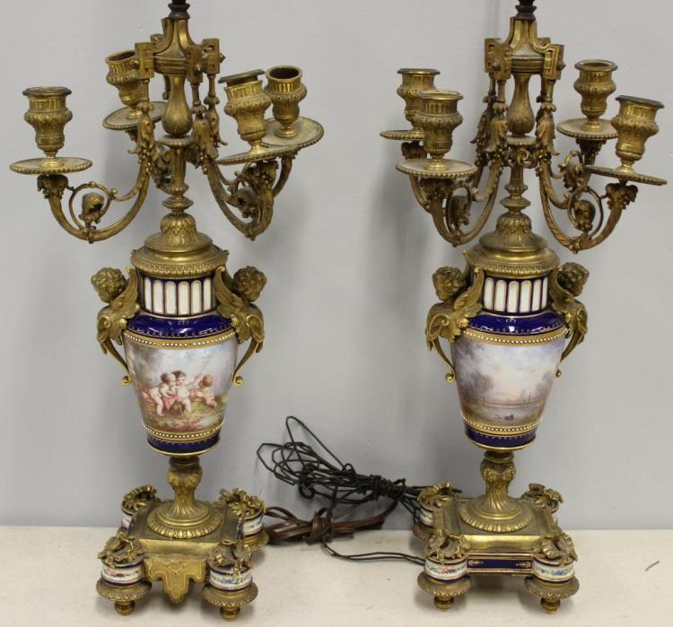 SEVRES. Pair of Fine Bronze Candlebra Lamps.