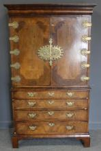Queen Anne Cabinet on Chest with Brass Hardware.