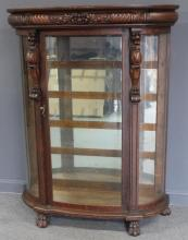 Attributed To Horner Oak Curved Glass China.