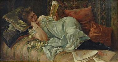 """CIPOLLA, Fabio. Oil on Canvas of Reclining Woman. Signed lower left. Fabio Cipolla, Italian, 1852 - 1935. From a Westchester, NY estate. Dimensions: 10.25"""" high x 20.75"""" wide. Condition: Good, surface scratch through woman's hair."""
