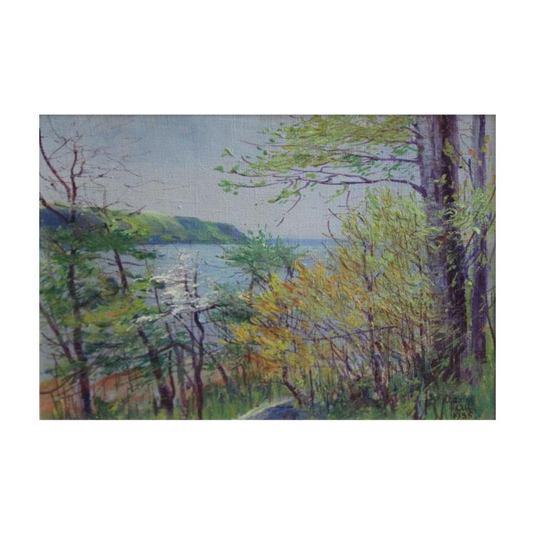 ALF, Oscar. Oil on Board. River Landscape.