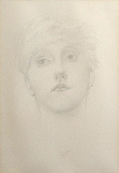 BURNE-JONES, Edward. Pencil Study of a Woman. Old labels verso including a label inscribed