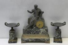 Antique French Bronze Figural Clock Garniture Set