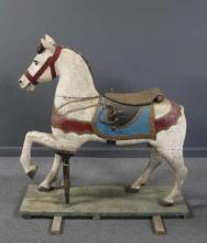 Antique Carved and Painted Wood Carousel Horse.