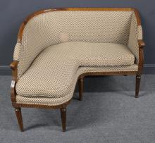 Antique Louis XVI Upholstered Corner Settee.
