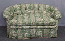 Upholstered Demilune Settee.