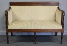 Antique Sheraton Style Settee with Brass Inlay.