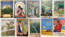 Lot of 10 Original Lithograph Travel Posters.