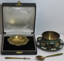 SILVER. Grouping of Enamel Decorated Russian
