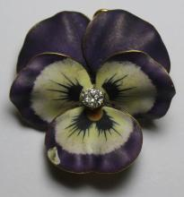 JEWELRY. Victorian 14kt Gold, and Enamel Pansy