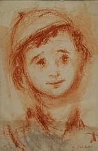 ZUCKER, Jacques. Sanguine Drawing of a Hasidic Boy