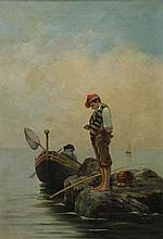 CAPONE JR., G. Oil on Canvas of Fisherboys.