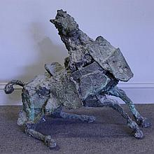 FARR, Fred. Modernist Bronze Seated Horse.