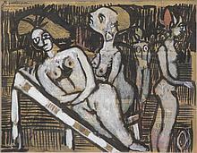 BRODERSON, Robert. Gouache on Newsprint of Figures