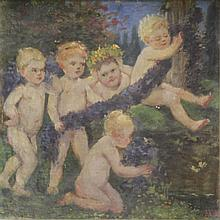 Initialed 'MW' 19th C. Oil on Canvas of Putti.