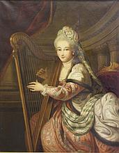 19th C. Oil on Canvas of  Woman Playing a Harp.