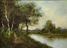 LEMAITRE. 19th C. Oil on Canvas. Figure Near a