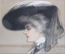 KING, Hamilton. Pastel. Portrait of Lady in Bonnet