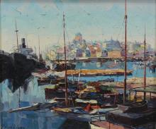 "PRUDNIKOV, Delamare Jack. Oil On Board. ""Harbour"""