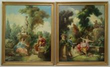 After Fragonard. Pair of Oils on Canvas From