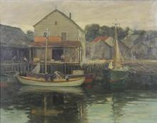 GRUPPE, Charles P. Oil on Canvas. Fishermen in