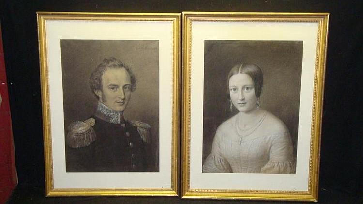 KAULBACH, Friedrich. Pair c.1860 Pastel Portraits