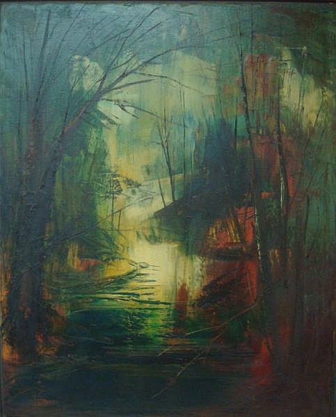 SOBOSSEK,Stan O/C Evening Trees over Water