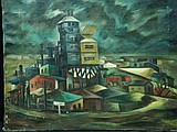 BECK, Margit c.1935 O/C of Factory on Stormy Night