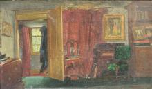 ILLEGIBLY Initialed. Oil on Canvas. Interior Scene