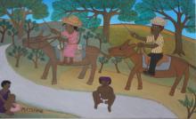 STEPHANE, Micius. Oil on Board. Figures on Horses.
