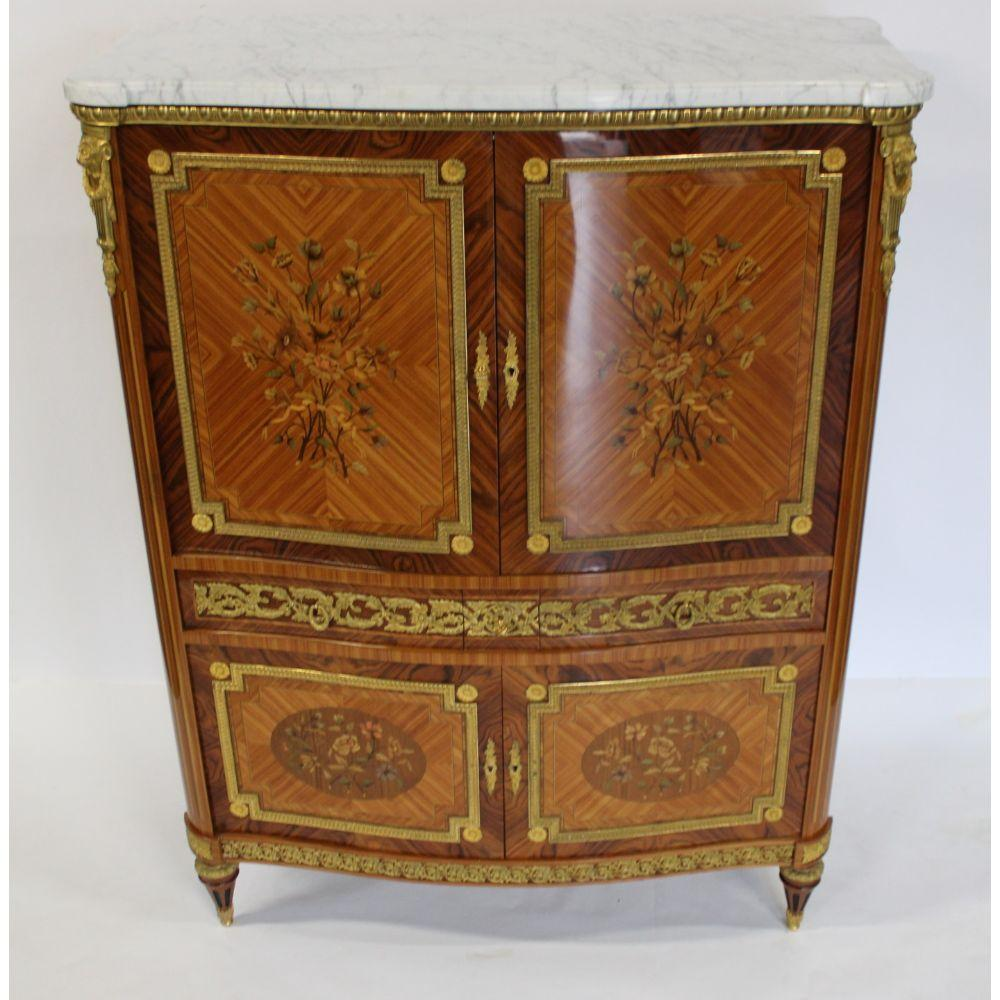Fine Quality Bronze Mounted, Inlaid & Marbletop