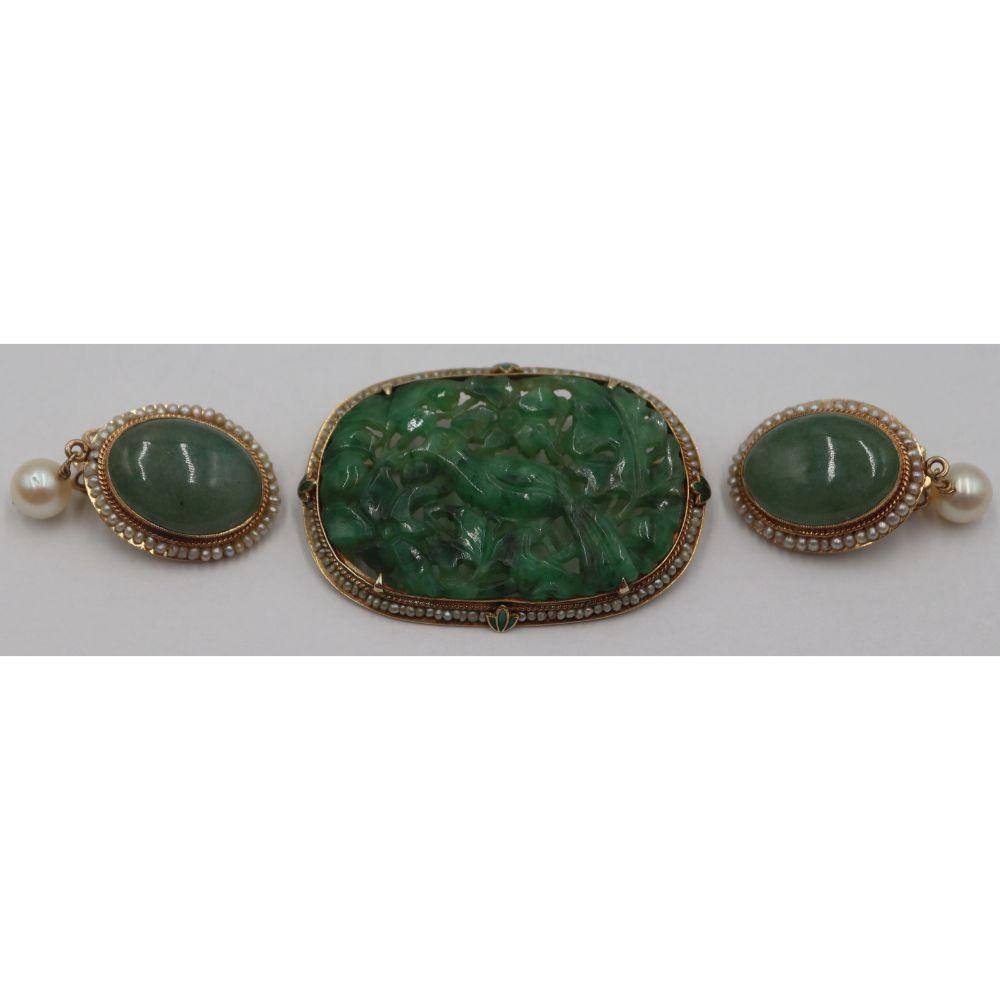 JEWELRY. 14kt Gold, Carved Jade, and Pearl Brooch.