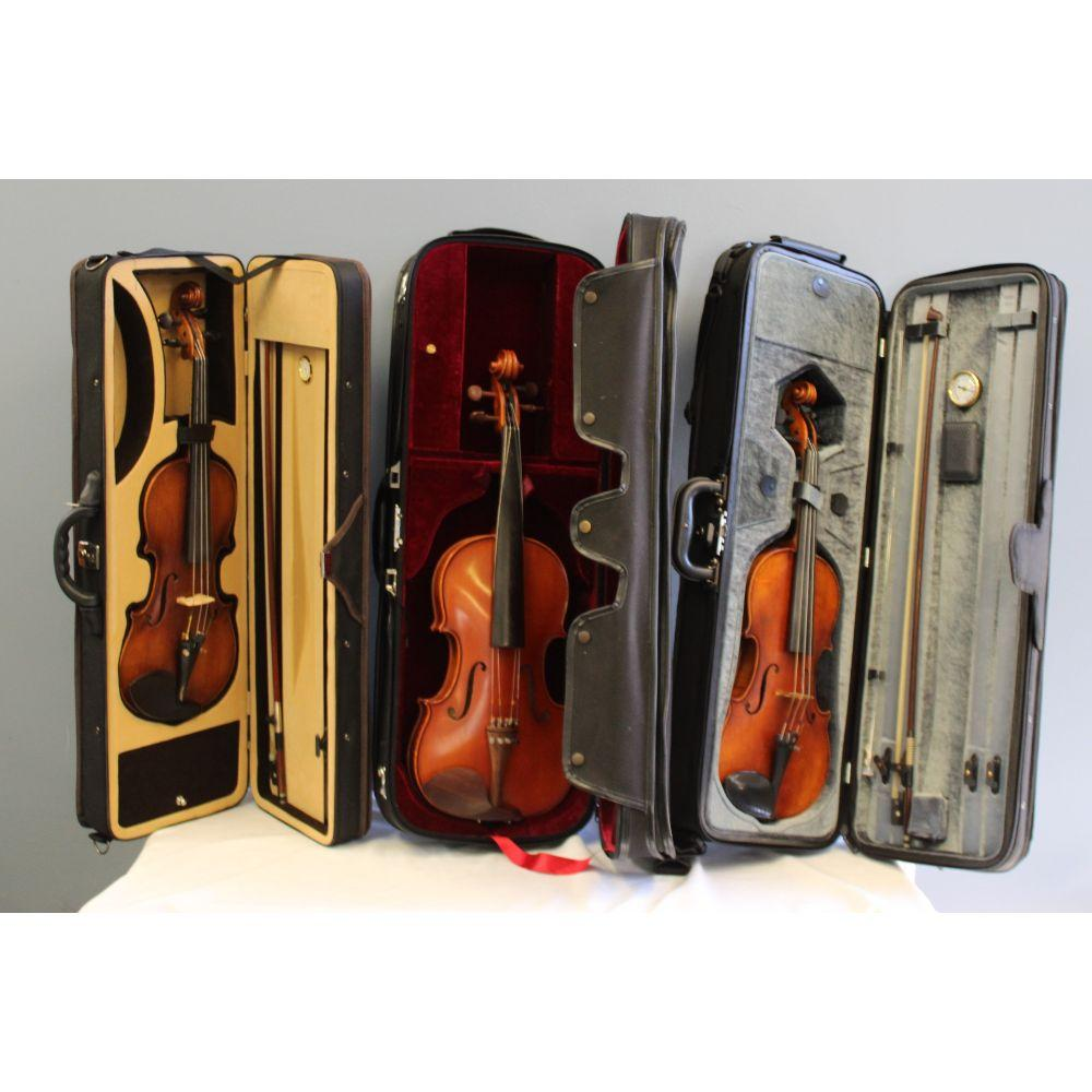 Group of 3 Violins in Soft Cases
