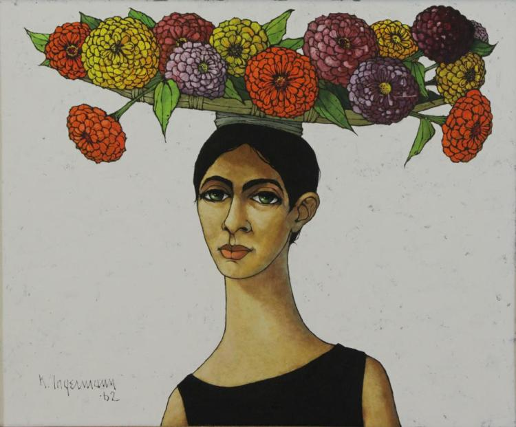 INGERMANN, Keith. Oil on Board. Woman with Flowers