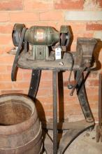 Gms Industrial Grinder On Vintage Dawn Cast-Iron Stand And Matching Vice