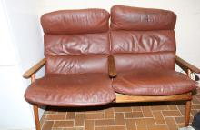 Danish Two Seater Leather Lounge & Ottoman