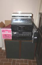 DVD player, turntable, tape recorder & speakers