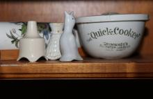 Grimwades quick cook pudding bowl, pie funnels and vintage floral rolling pin