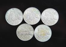 Five 1966 Australian Silver 50 cent coins