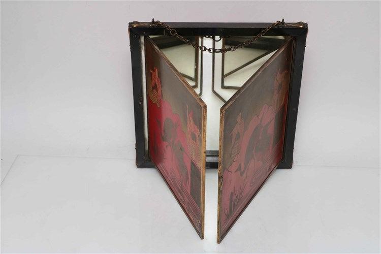 Miroir triptyque de voyage d cor peint dans le style japon for Miroir de voyage