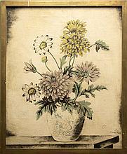 Sei KOYANAGUI (1896-1948). Bouquet de fleurs. Huile sur toile (rentoilé). Signé en ba