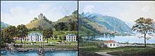 Jean DUBOIS (1789-1849). Clarens et Montreux. Miniatures. Paire de gouaches