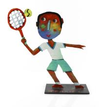 Christophe JEHAN (né en 1961) Le tennisman Sculpture, huile vernie sur tôle