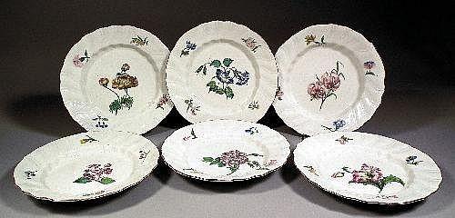 Six 18th century Tournay porcelain botanical