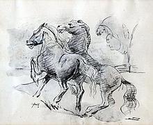 Edward Bainbridge Copnall (1903-1973) - Charcoal sketch - Gamboling horses