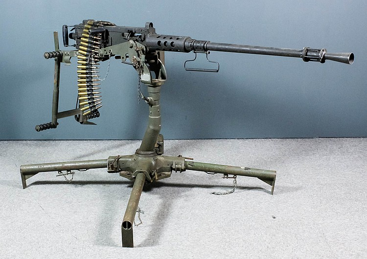 A deactivated M2  50 calibre Browning machine gun, model M2,