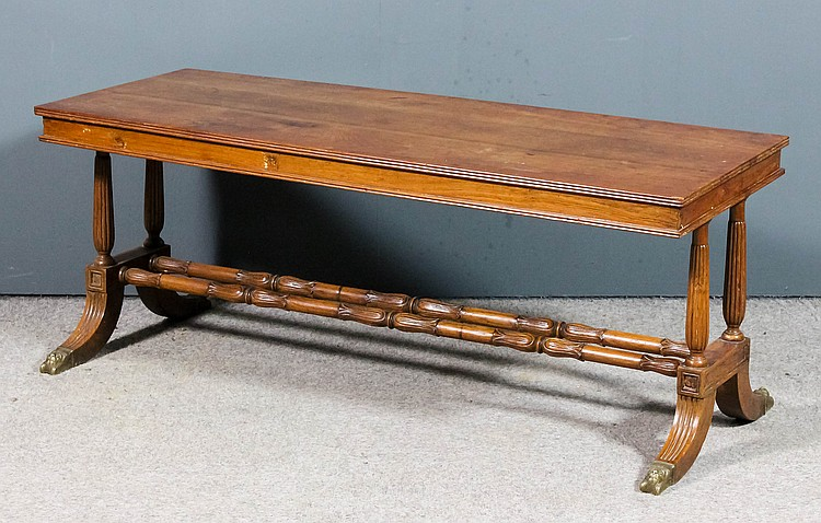 A teak rectangular coffee table with triple reeded edge to t for Coffee tables 18 inches wide