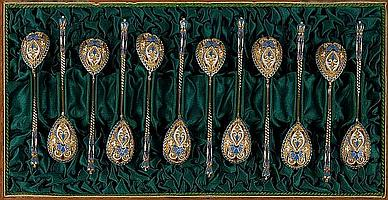 A set of twelve early 20th Century Russian silver